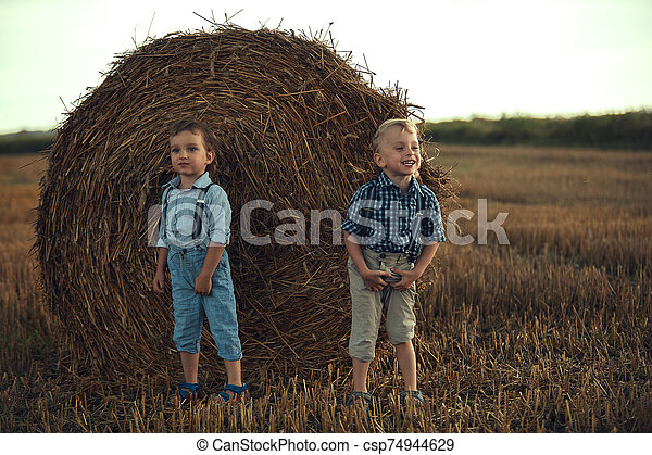 Two cute brothers leaning on the sheaf - csp74944629