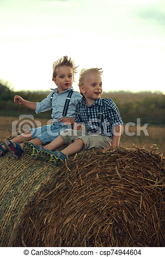 Two cute brothers leaning on the sheaf - csp74944604