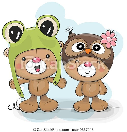 Two cute cartoon bears in a frog and owl hat two cute eps vector two cute cartoon bears in a frog and owl hat csp49867243 voltagebd Images