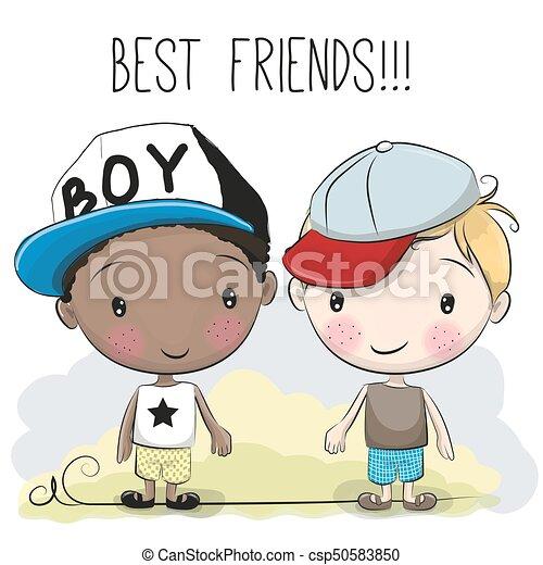 two cute cartoon boys two friends cute cartoon boys in a clipart rh canstockphoto com Cute Cartoon Boy and Girl Puppies Cute Cartoon Man