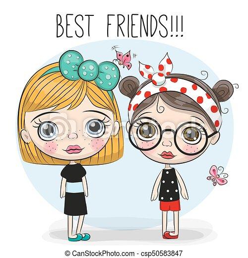 Two Cute Cartoon Girls Two Friends Cute Cartoon Girls With Big Eyes