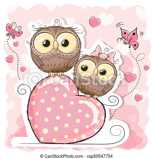 Two cute cartoon owls and heart two cute owls is sitting on two cute cartoon owls and heart csp50547754 voltagebd Images