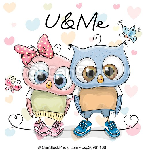 Two cute cartoon owls two cute owls on a hearts background clip two cute cartoon owls csp36961168 voltagebd Images