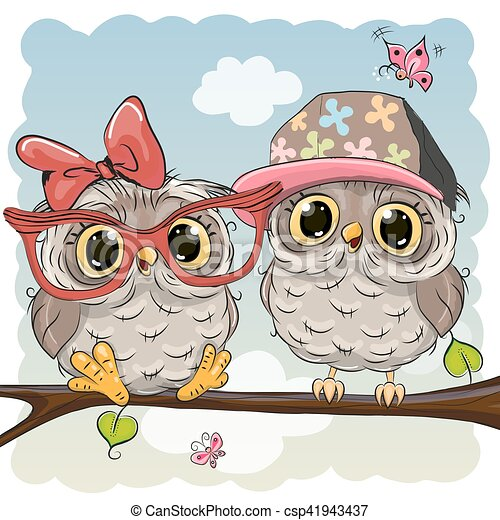 Greeting card with two cute cartoon owls vectors search clip art two cute cartoon owls csp41943437 voltagebd Images