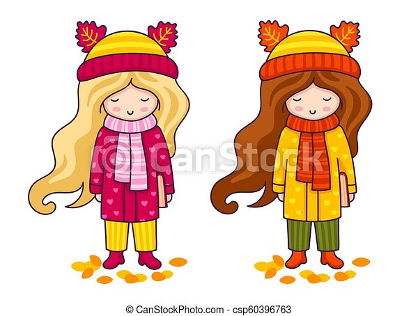 Two cute little girls in coats and big knitted scarves. Autumn fashion. - csp60396763