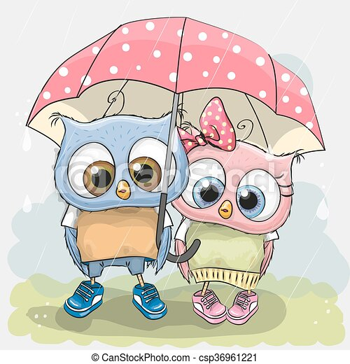 Two cute Lovers Owls - csp36961221