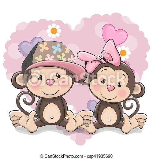 Two cute monkeys. Two cute cartoon monkeys on a heart ...
