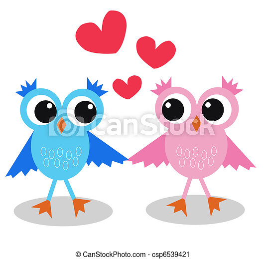two cute owls in love  - csp6539421