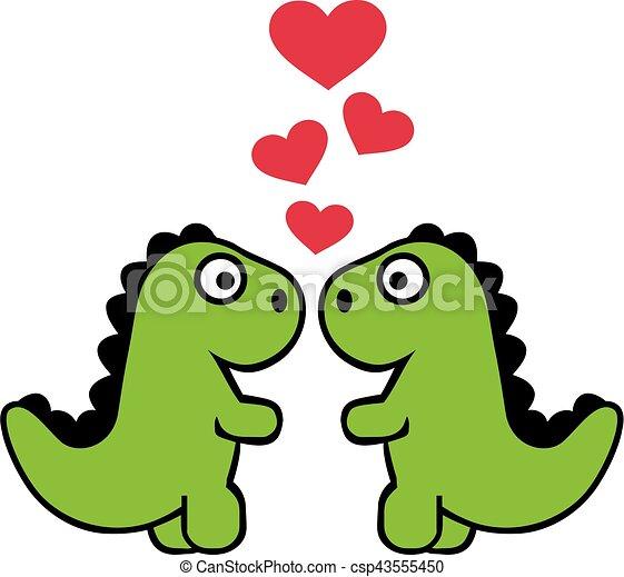 Two Cute Tyrannosaurus In Love Canstock Ideas para festejar y regalar de forma diferente el día de los enamorados. https www canstockphoto com two cute tyrannosaurus in love 43555450 html