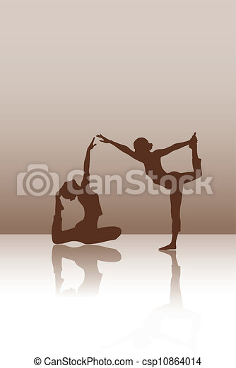 Two dancers on the brown background - csp10864014