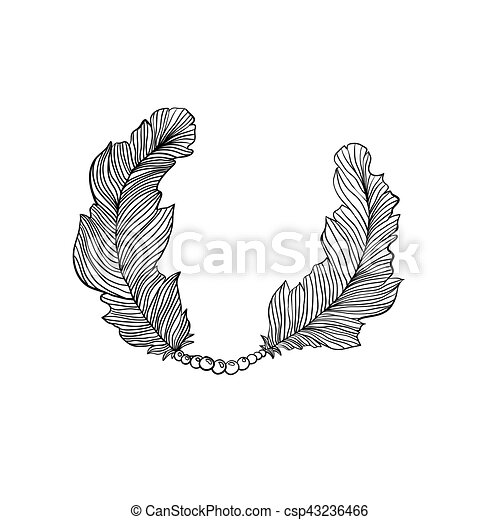 Two decorative isolated feather. aztec native ornamental frame for ...