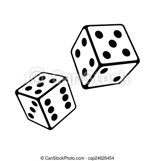 Two Dice Cubes on White Background. Vector - csp24626454