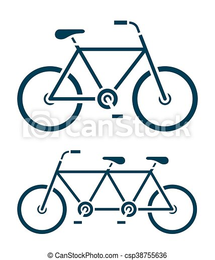 two different bicycle icons one a tandem bike two different simple rh canstockphoto com tandem bike clipart free