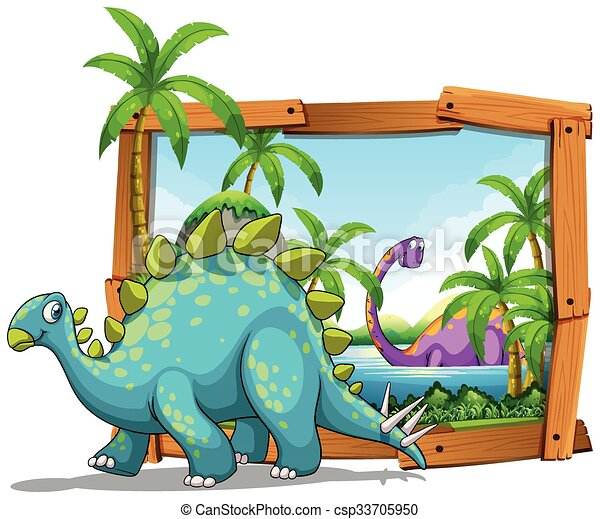 two dinosaurs in wooden frame illustration
