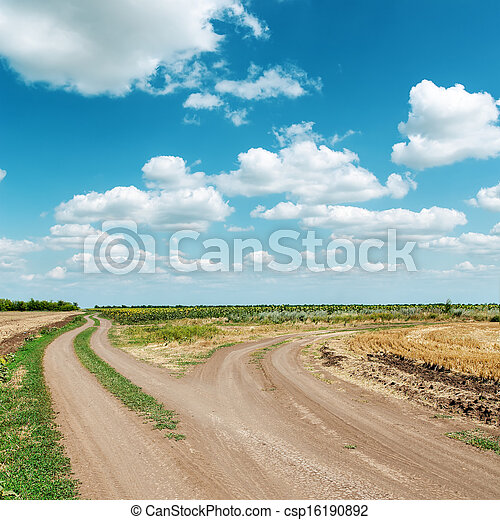 two dirty roads under blue cloudy sky - csp16190892