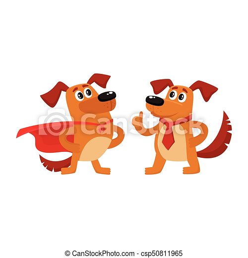 Two dog characters, in superhero cape, thumb up
