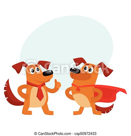 Two Dog Characters In Superhero Cape Thumb Up Two Funny Brown
