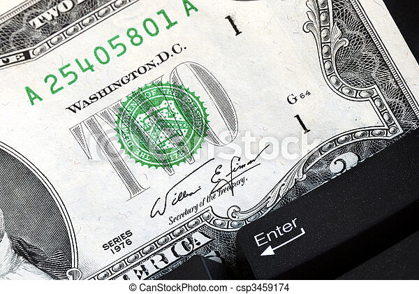 Two dollar bill and keyboard concept online shopping or banking - csp3459174