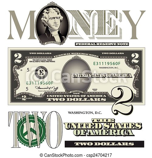 miscellaneous two dollar bill elements for print or web vector clip rh canstockphoto com 100 dollar bill vector dollar bill vector template photoshop