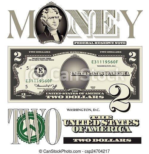 two dollar bill elements - csp24704217