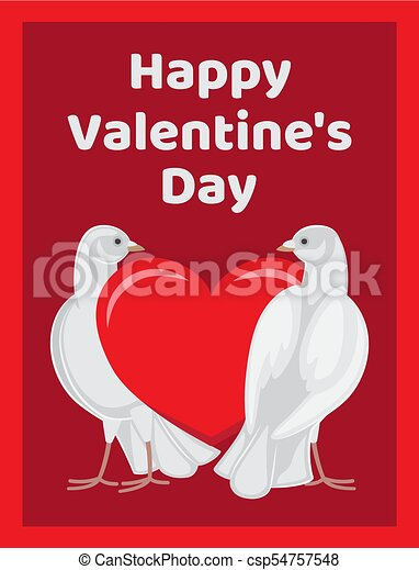 Two Doves Stands Red Heart Symbols Of Eternal Love Happy Eps