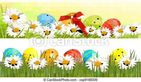Two Easter Borders With Eggs Vector