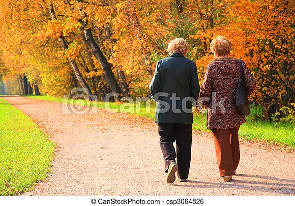 Two elderly women in park in autumn - csp3064826