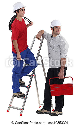 Two electricians on white background - csp10853301