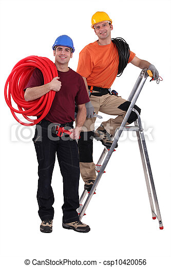 Two electricians working together - csp10420056