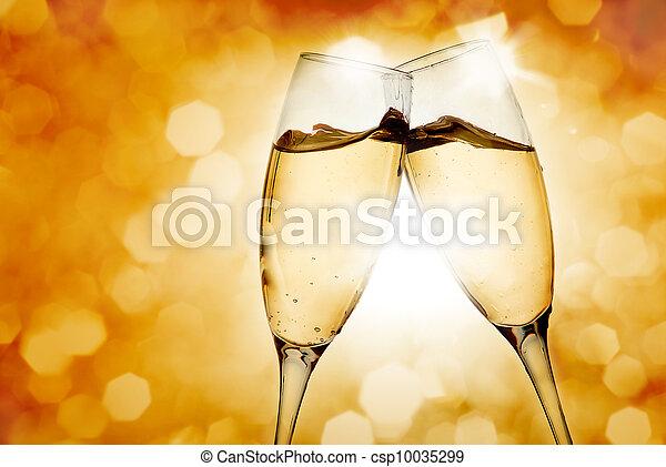 Two elegant champagne glasses - csp10035299
