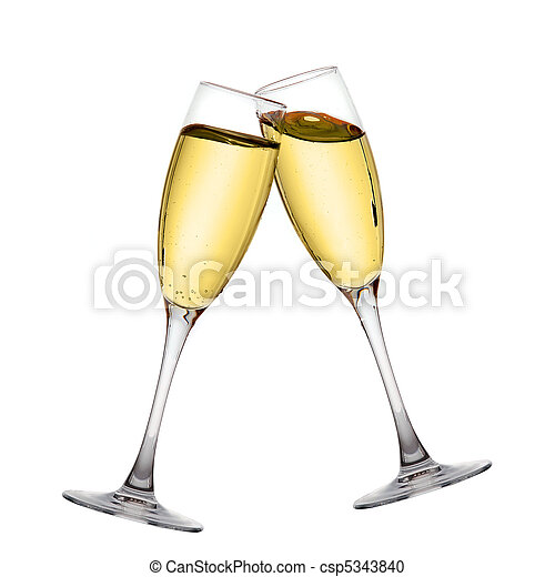 Two elegant champagne glasses  - csp5343840
