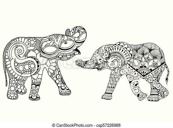 Two elephants with oriental patterns - csp57226988