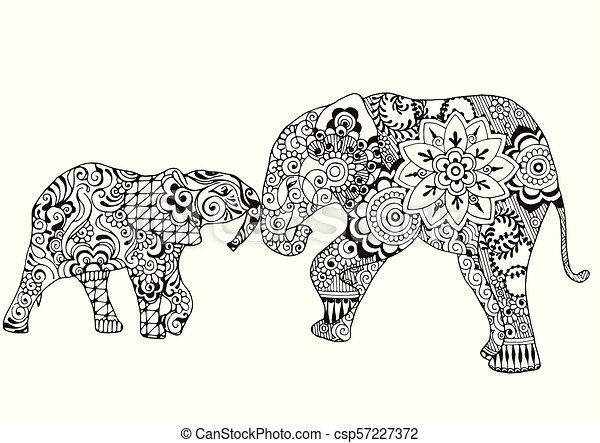 Two elephants with oriental patterns - csp57227372