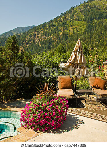 Astounding Two Empty Lounge Chairs In A Garden Setting Machost Co Dining Chair Design Ideas Machostcouk