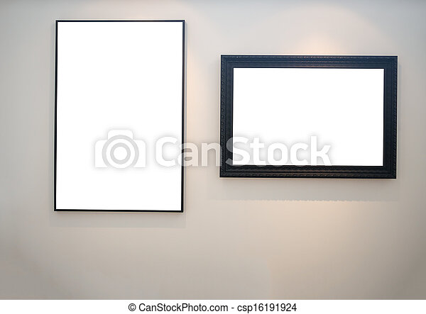 two empty picture frames on white wall stock photo - Empty Frames On Wall
