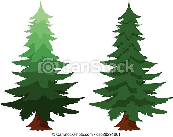 illustration of two evergreen fir trees one with a gradient clip rh canstockphoto com evergreen branch clipart evergreen branch clipart
