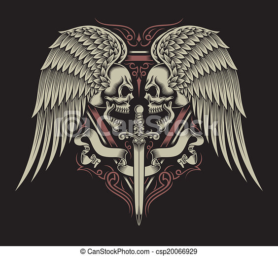Two Faced Skull With Wings & Sword - csp20066929