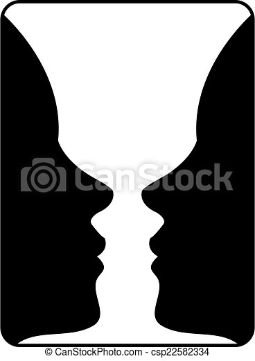Two Faces Side By Side Illusion Of A Vase
