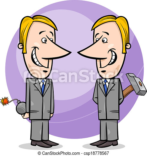 two false businessmen cartoon - csp18778567