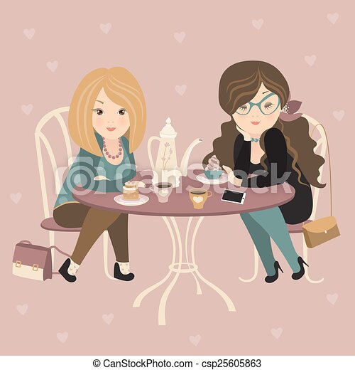Two fashion girls chatting at a cafe - csp25605863