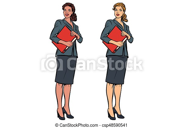 Two female accountant African American and Caucasian - csp48590541