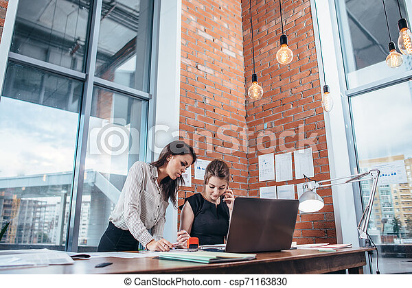 Two female colleagues in office working together. - csp71163830