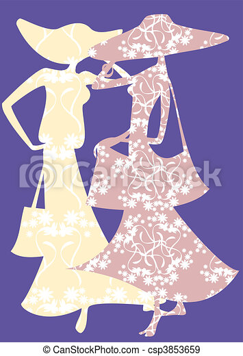 Two female silhouette - csp3853659