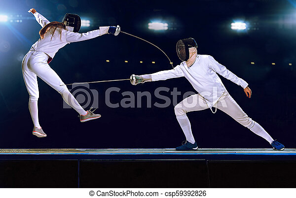 Two Fencing Athletes Fight On Professional Sports Arena Two Male