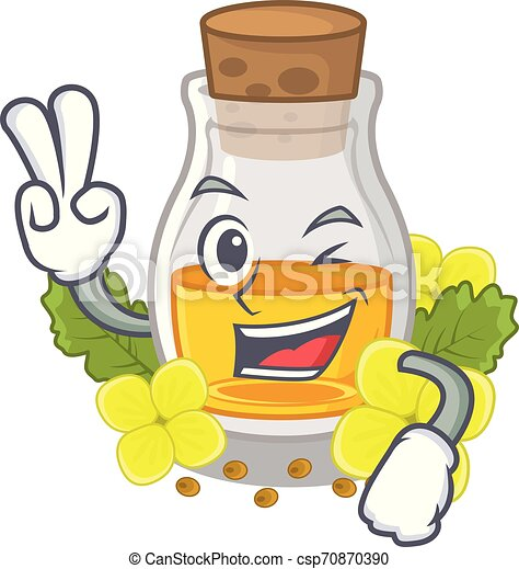 Two finger mustard oil isolated with the character - csp70870390