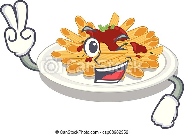 two finger pasta in the a character bowl vector llustration can stock photo