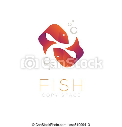 Two Fish Or Pisces Symbol Icon And Air Bubble Set Orange Violet
