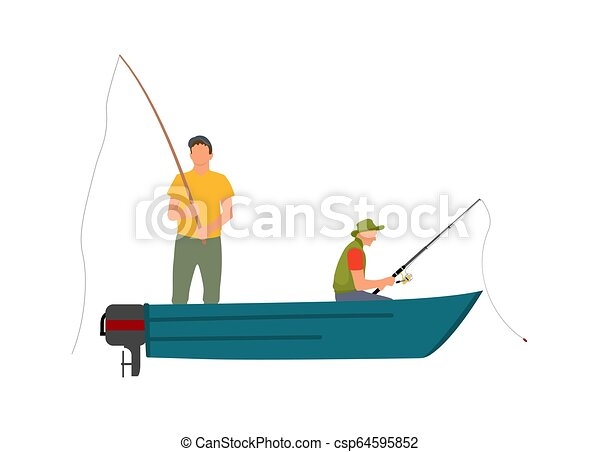 Two Fishermen With Fishing Rods On Motor Boat Two Fishermen With Fishing Rods On Blue Motor Boat Cartoon Vector Illustration