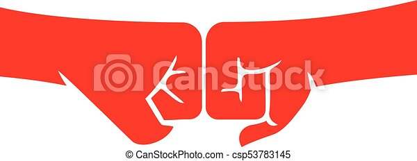 two fists punching each other vector illustration - csp53783145