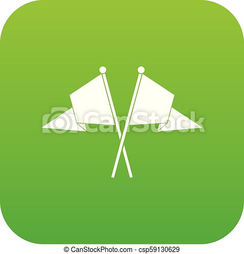 Two flags icon digital green - csp59130629